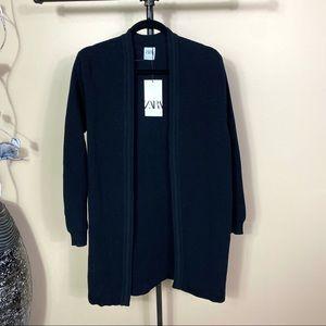 Zara Black Knit Open Long Cardigan